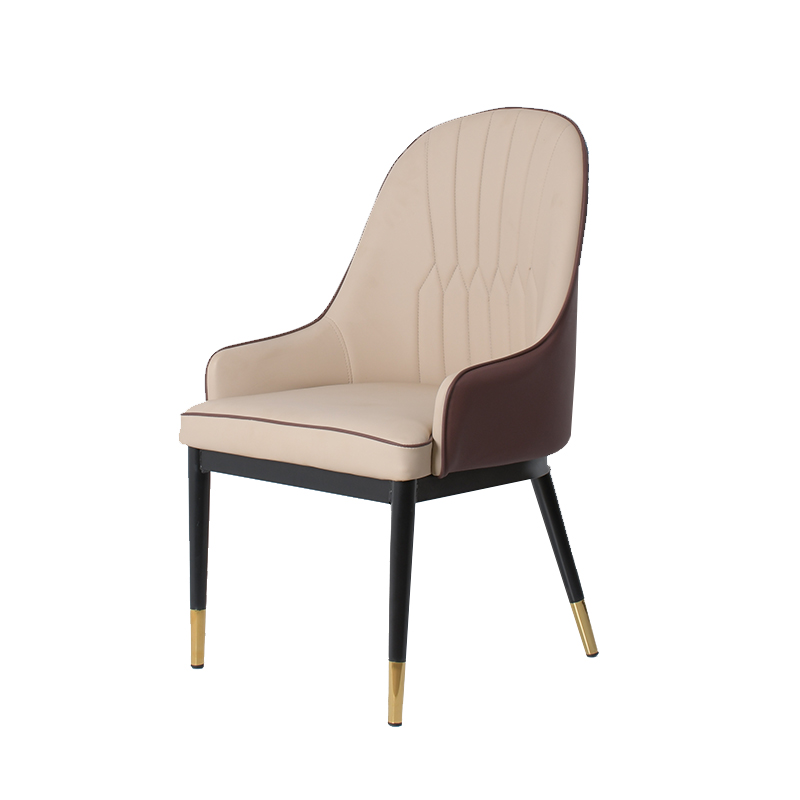 High quality dining room furniture European style PU Leather armrest semi-wrapped design black spray leg metal dining chair