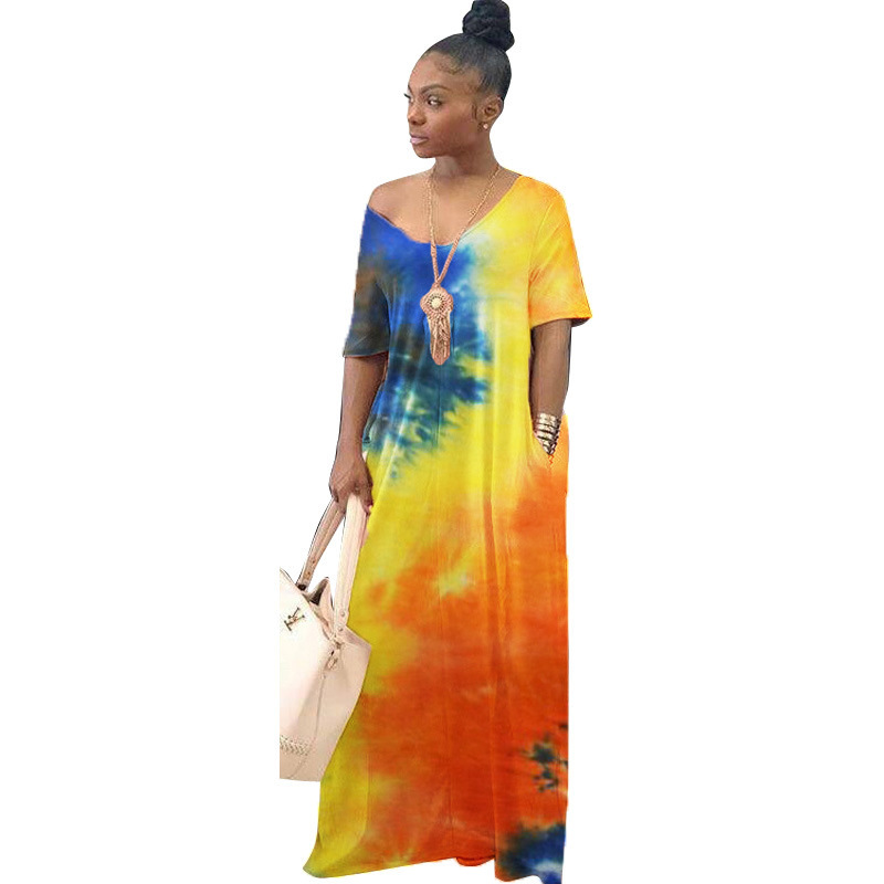 Año 2020 caliente mujeres de la venta O cuello Plus tamaño vestidos sueltos impreso Maxi vestido de tinte de corbata