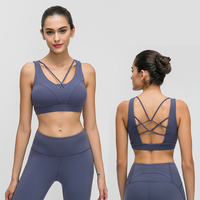 2020 lulu new arrival align brushed hairy solid color sport bra with breast pad sexy hollow beautify back shockproof Yoga bra