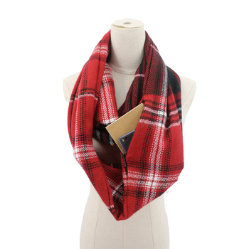 Zipper Pocket Tartan Plaid Cashmere-Like Infinity Scarf For Lady
