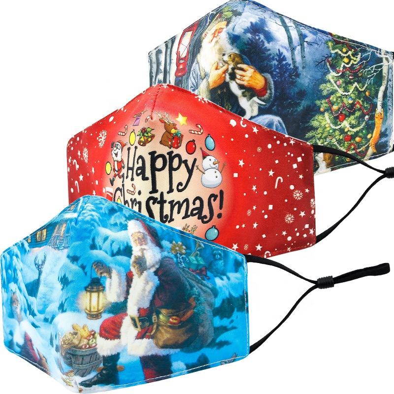 大人3dプリントクリスマスmas_k、フィルターポケット付き卸売ファッションコットンフェイスカバー