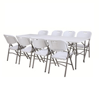 8ft plastic folding table,rectangular foldable table with chairs