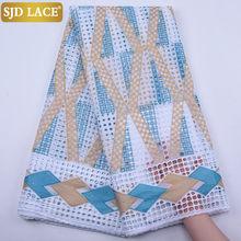 SJD кружевной ткани в африканском стиле, хлопковое Прошитое кружево со стразами, Высококачественная нигерийская кружевная ткань для свадебн...(Китай)
