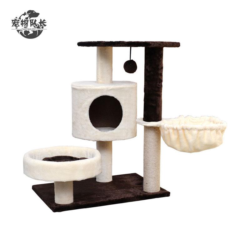 Simple Cat Craft Tower Climb House Natural Sisal Wood Scratcher Cat Tree