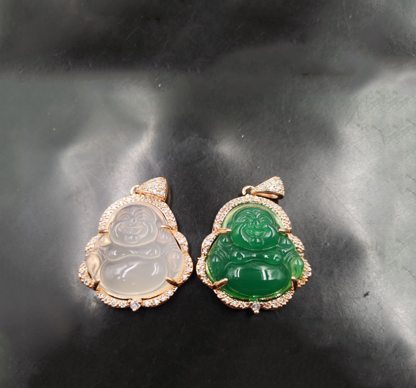 XUNBEI S925 silver female Burmese <strong>natural</strong> green <strong>Emerald</strong> jade laughing Buddha <strong>pendant</strong> necklace