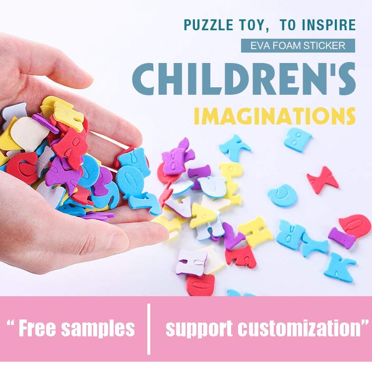 3d niños diy glitter personalizado de espuma carta etiqueta para los niños