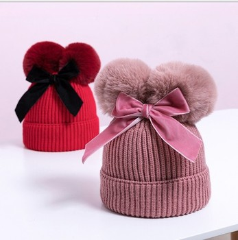 Double bowknot lovely children's knitted hat Autumn winter new add cotton warm baby hat