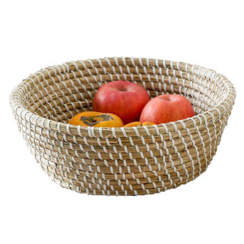 Hot selling eco friendly round straw fruit basket grass food basket storage