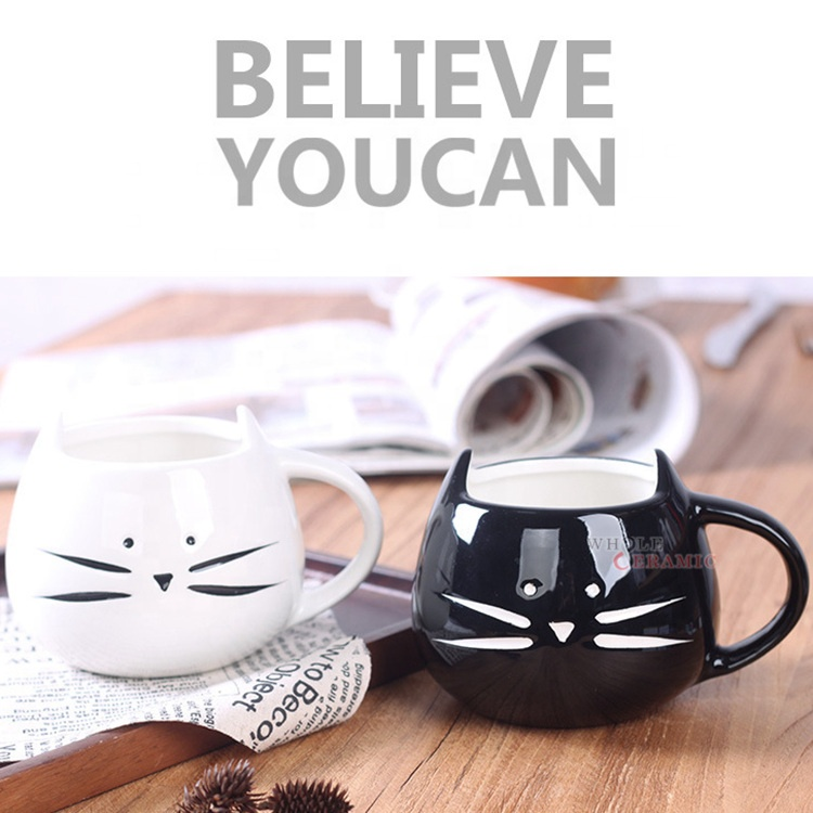 Creative Good Quality Embossed Cat Cartoon 3D Ceramic Cereal Mug Small MOQ Manufacturer China