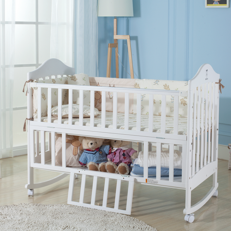Clearance Large Storage Non-Tonxic Convertible Pine Wood Crib Baby Bed White Cot