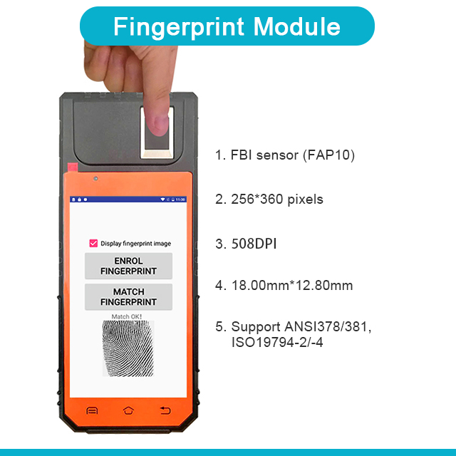 FP09 Portable Handheld 2D Barcode Scanner Fingerprint Android PDA with Built-in Printer