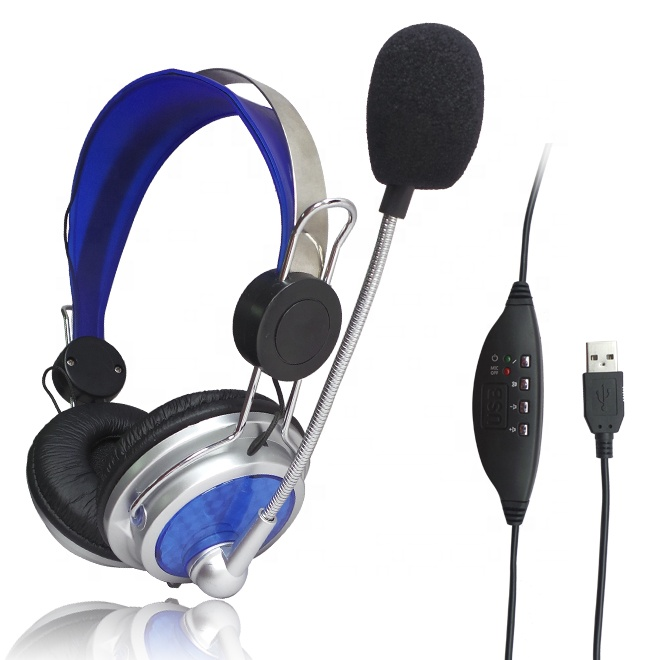 Portable communication headsets Headphone with microphone for skype call center
