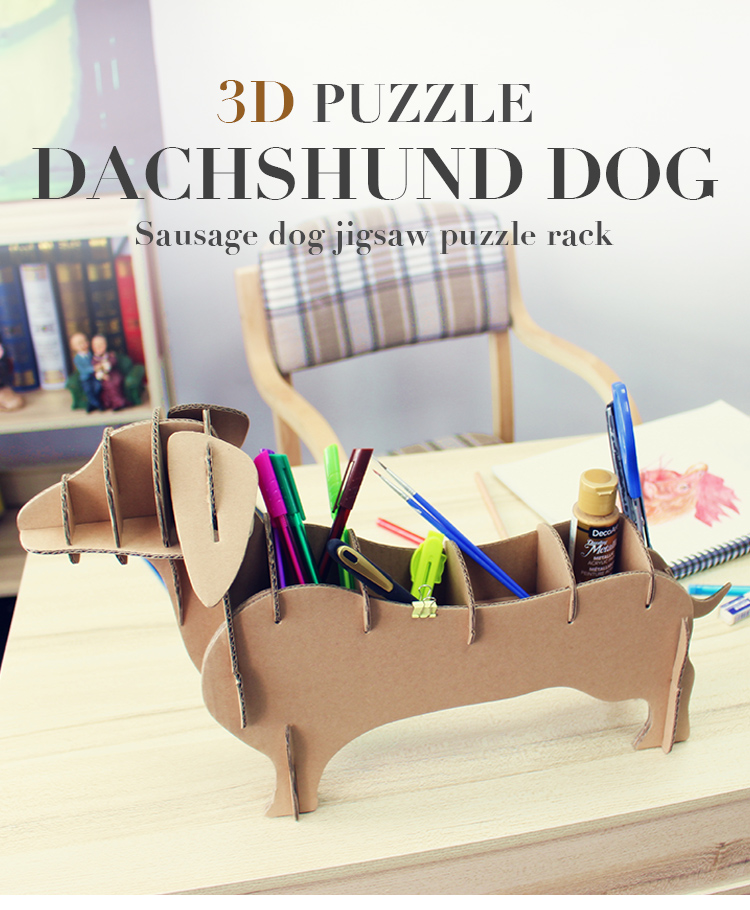 3D puzzle cardboard dog docking station case desk accessories pinotto stand organizer