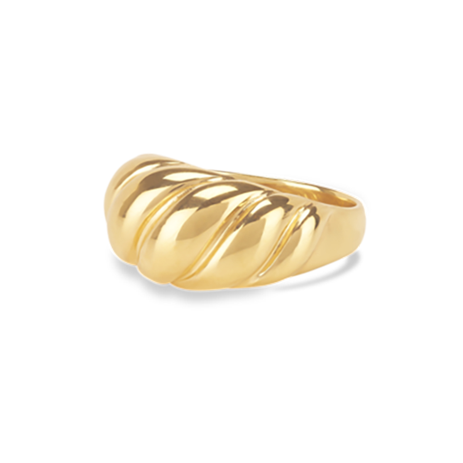 925 Silver Ring Jewelry Wholesale 925 Sterling Silver Finger Ring 18K Gold Vermeil Croissant Dome Ring