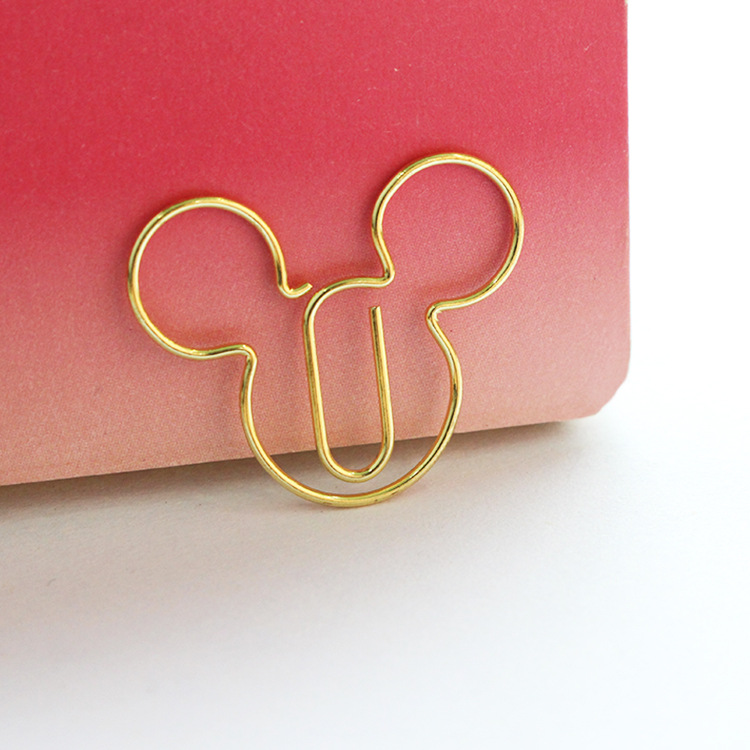 Gold color mickey mouse shape paper clip office binding supplies clip
