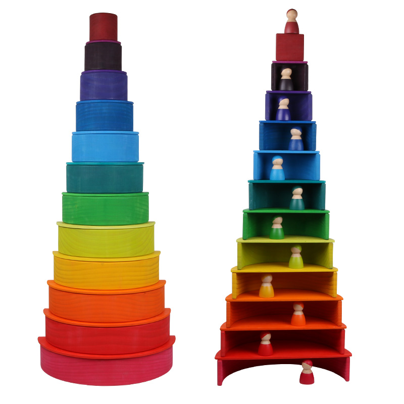 INS Popular Creative Montessori Educational Toys Rainbow Stacker Wooden Blocks Toy