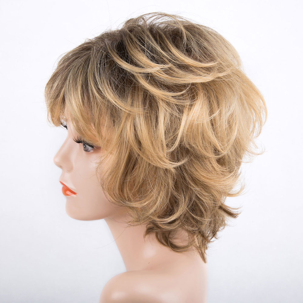 Fashion Design Short Curly Brown Synthetic Lace Hair Wigs For White Women