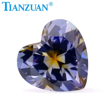 quality Heart Shape Cubic Zirconia Special Color one-time Forming Multi Tanzanite and coffee Color CZ Loose Stone