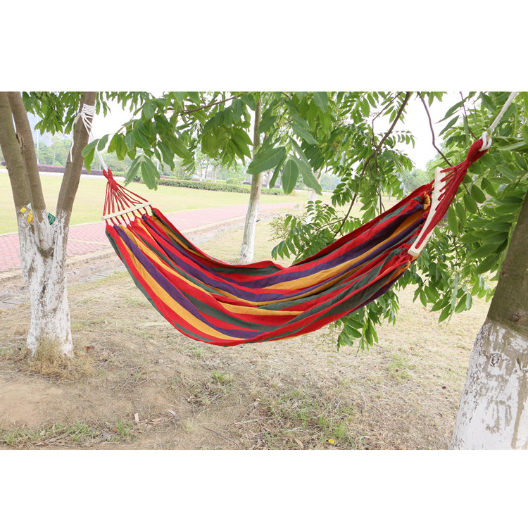 Hammocks Colorful Striped Canvas Hammock for Leisure Travel Camping Premium Carry Bag Included