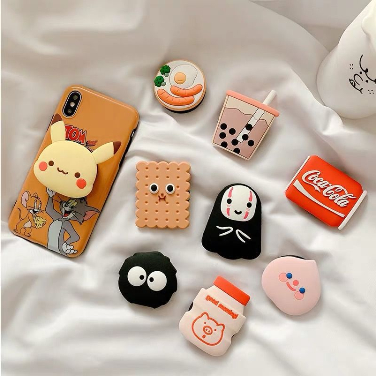 Wholesale Multi Function Silicone Pvc Cute Cartoon Foldable Retractable Cell Phone Holder for Airbag Bracket