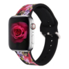Black flower silicone watch band for apple watch