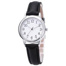 Женские часы с кожаным ремешком, элегантные кварцевые часы конфетного цвета с ремешком, простой набор для чтения(China)