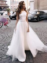 LORIE мягкие атласные свадебные платья Бохо с аппликацией, съемный шлейф, тюль, кнопки сзади, белые свадебные платья, пляжные, 2020(China)