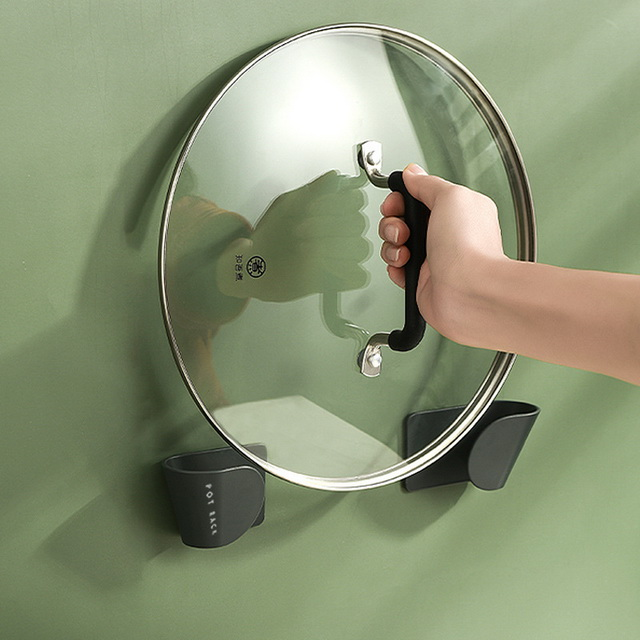 Wall mounted punch-free kitchen pot lid holder pot lid rack
