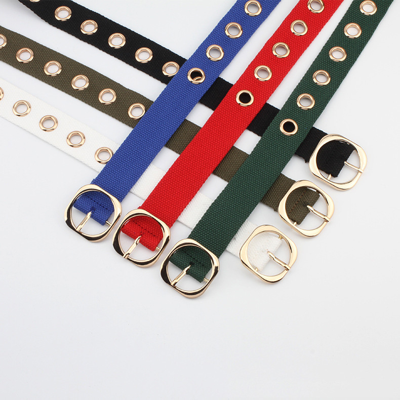 Factory direct new canvas golden buttonhole pin buckle free punching belt trend punk style fashion belt spot