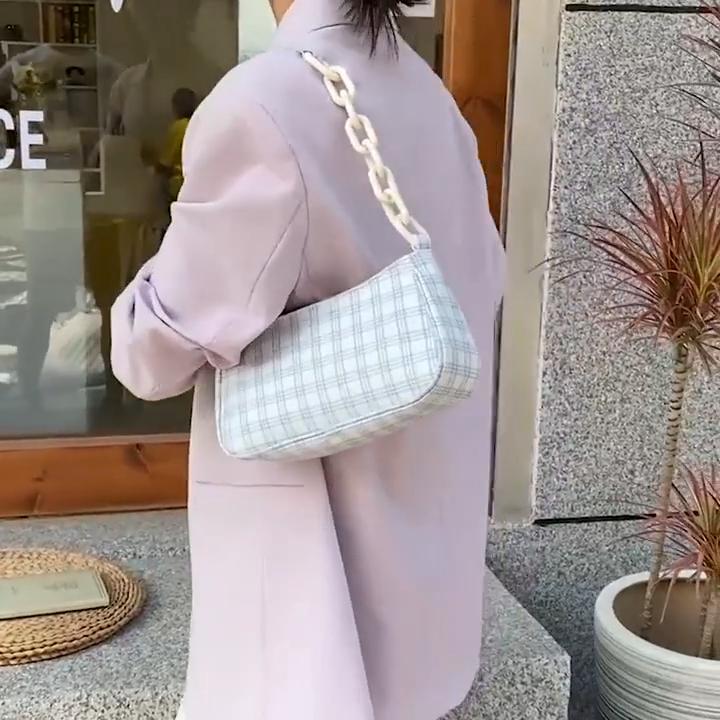 गर्म बेच कैनवास Baguette कंधे बैग पैटर्न प्रेरित कोरियाई शैली Baguette बैग