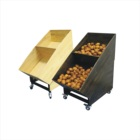2 Tier Natural Wooden Supermarket Fruit and Vegetable Shelf Rack Display Stands