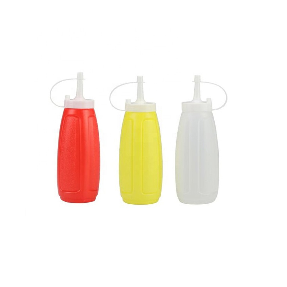Hot sale Clear Plastic squeezed sauce dispenser bottle with tip cover