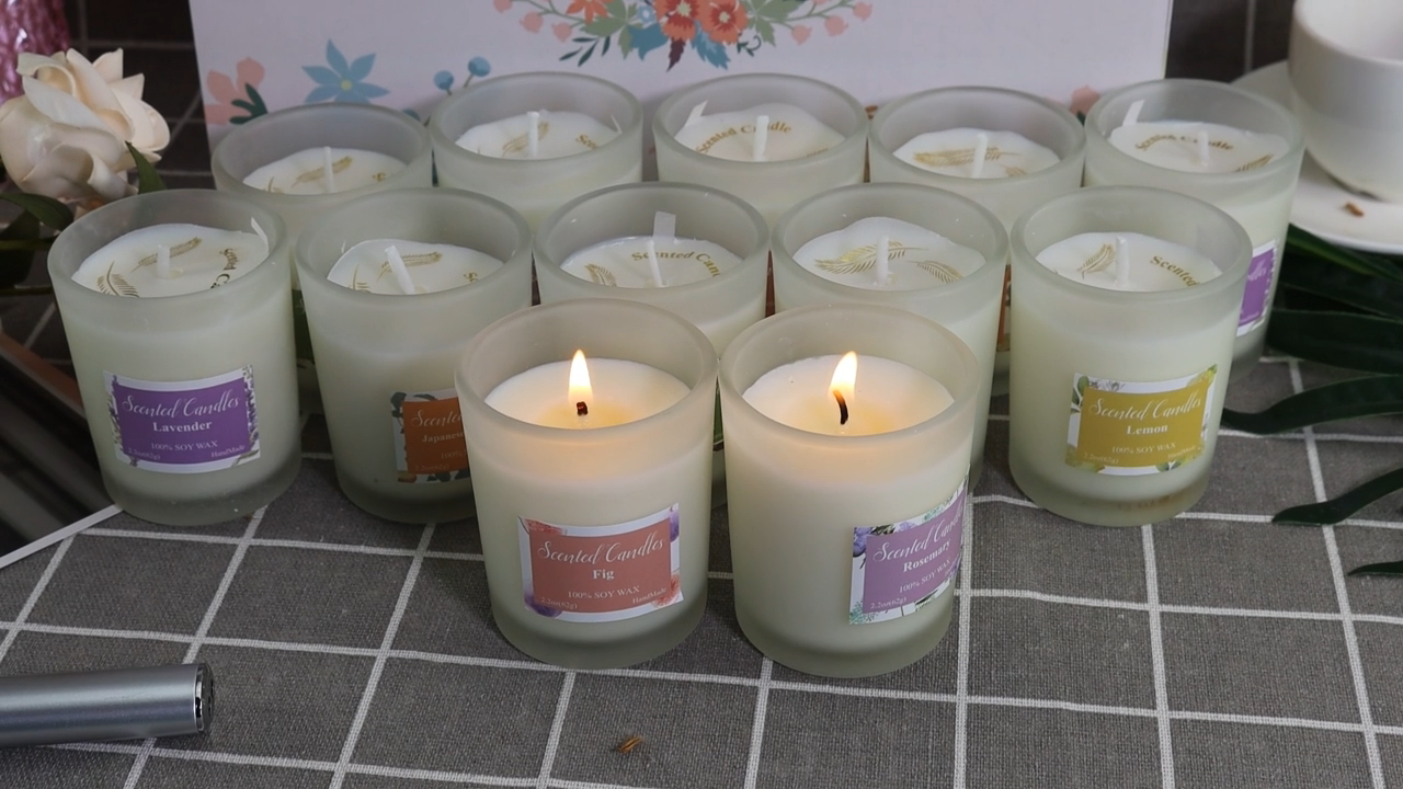wholesale candles manufacturer fancy decoration frosted glass candle jar Lemon scented candle gift