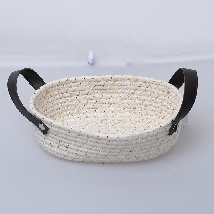 Woven Rope <strong>Storage</strong> <strong>Basket</strong> Small Beautiful <strong>Bathroom</strong> Cotton Laundry <strong>Basket</strong> With Leather Handle