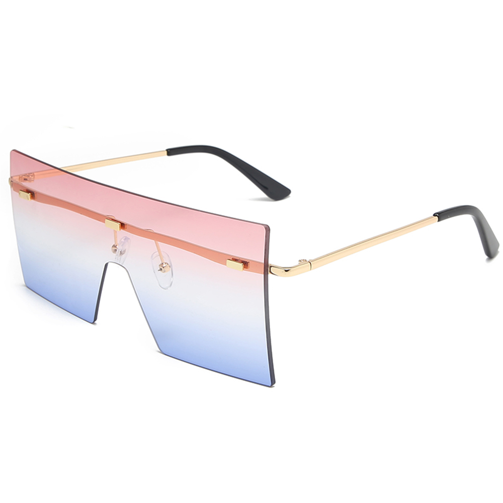 THREE HIPPOS Flat Top One Piece Sun Glasses Women Plastic UV 400 New Big Rimless Oversized Shades Square Sunglasses Rectangle, 13 colors for choose