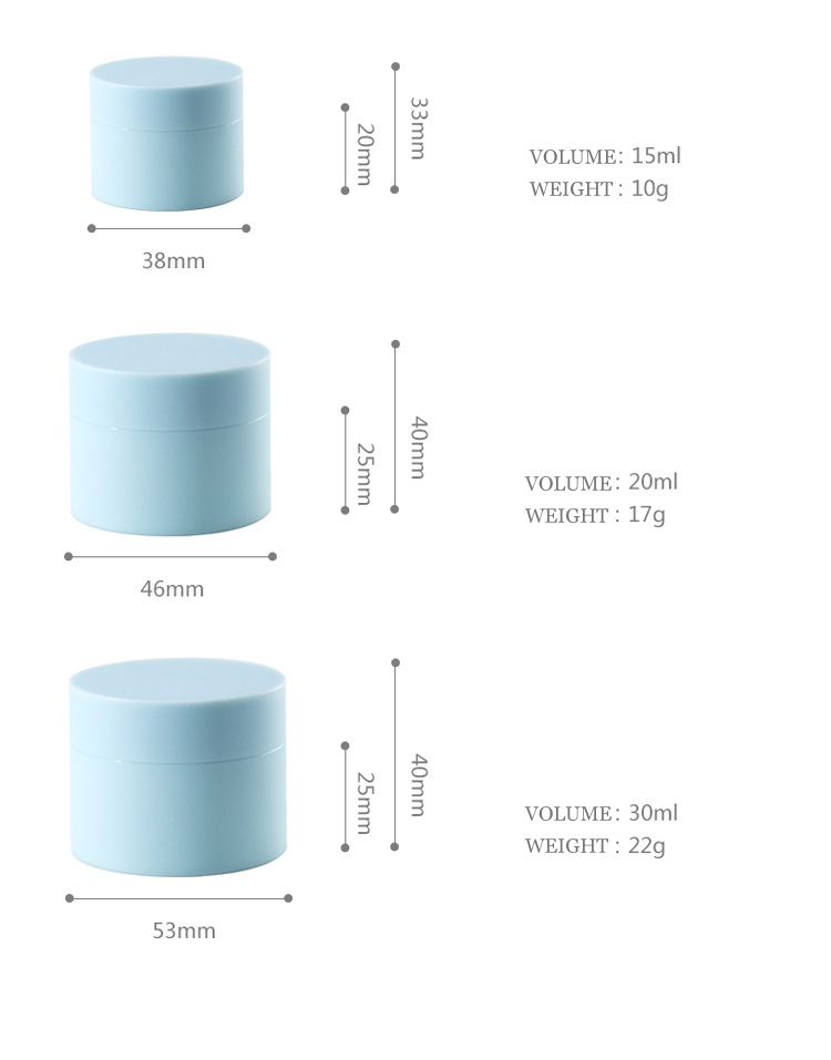 stock HOLAPAC empty round matte double wall  5g 15g 20g 30g 50g plastic pp cosmetic cream jar with lid