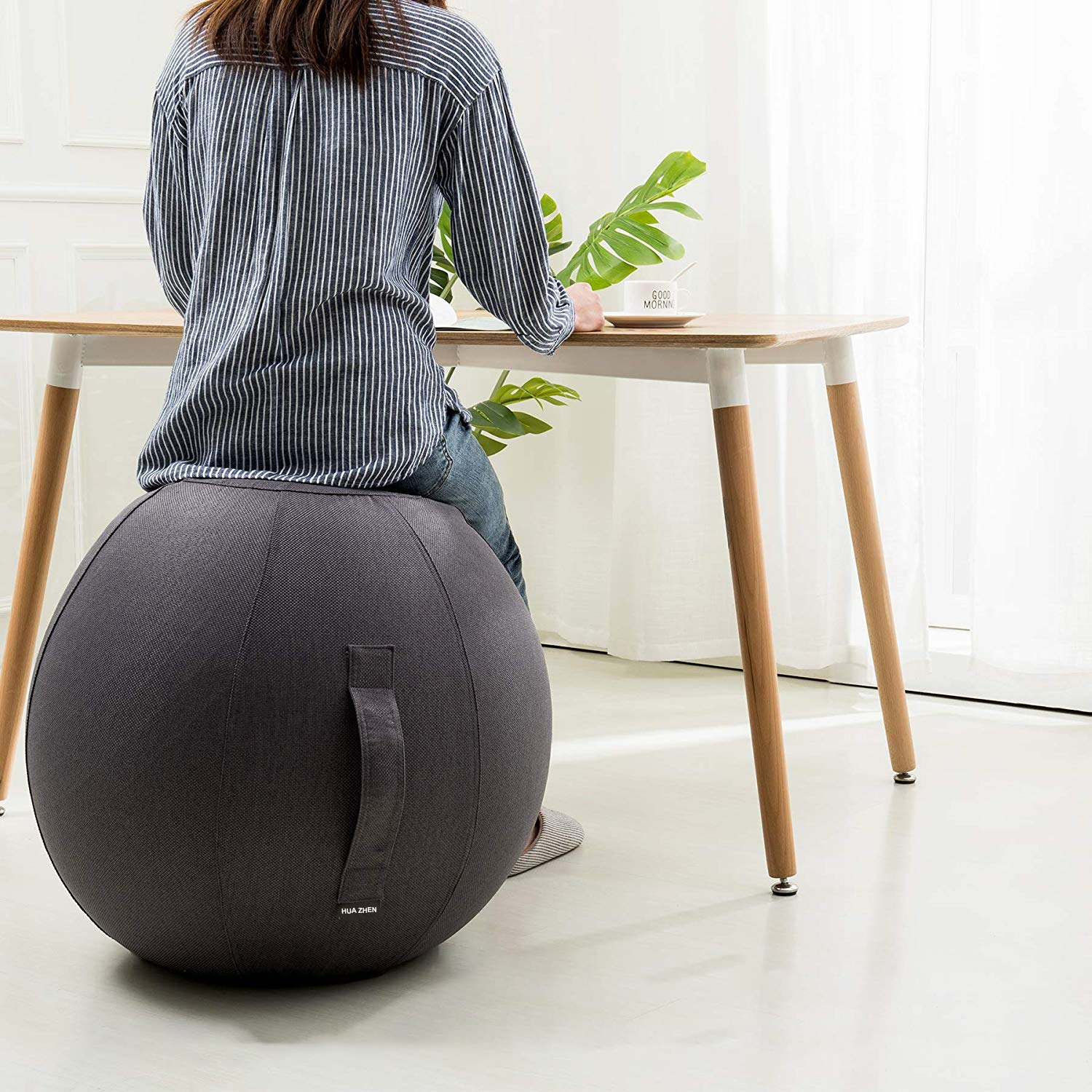 Amazon top seller <strong>yoga</strong> <strong>ball</strong> cover sitting <strong>ball</strong> chair with pump handle