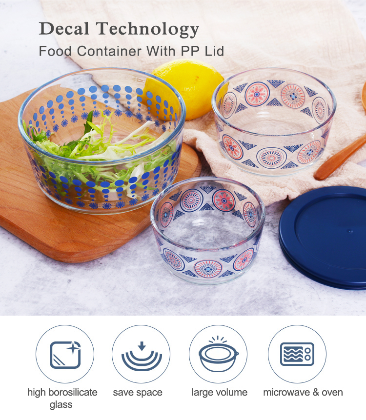 New design borosilicate round eco lunch box glass storage food container with lid plastic