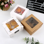 Custom White Transparent Mini Cupcake Box Window Clear 2 4 6 Hole Muffin Cup Cake Cupcake Paper Packaging Box