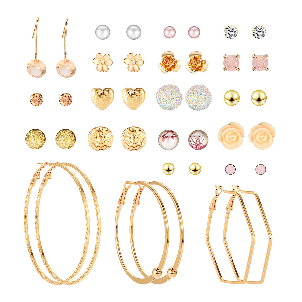 Korean fashion trend <strong>flower</strong> heart <strong>rose</strong> resin 20 pairs set <strong>earrings</strong>, wide styles bohemian <strong>earrings</strong>, femme bijoux