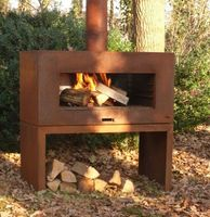 wood type corten steel fire pit with chimney