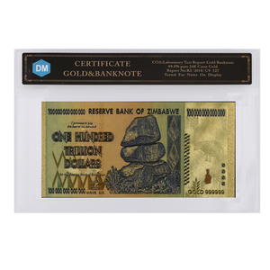 Zimbabwe Gold Banknote 24k Gold Plated 100 Hundred Trillion Quintillion 999.9 Bill with COA