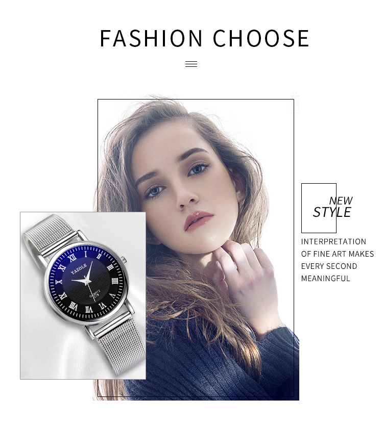 YAZOLE D 278-S Lady Office Wristwatches Facebook Metal Mesh Straps Women Watches Stainless Steel Waterproof reloj para hombre