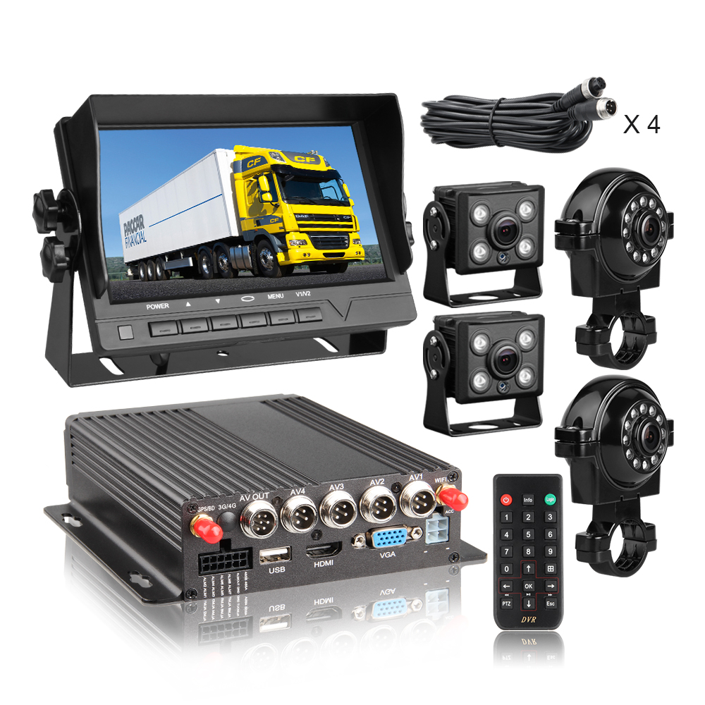 GPS WIFI 1080P Dual SD Card Mdvr Kit Car DVR Recorder with 4pcs Waterproof Cameras 7inch VGA Monitor for camper van Truck Bus