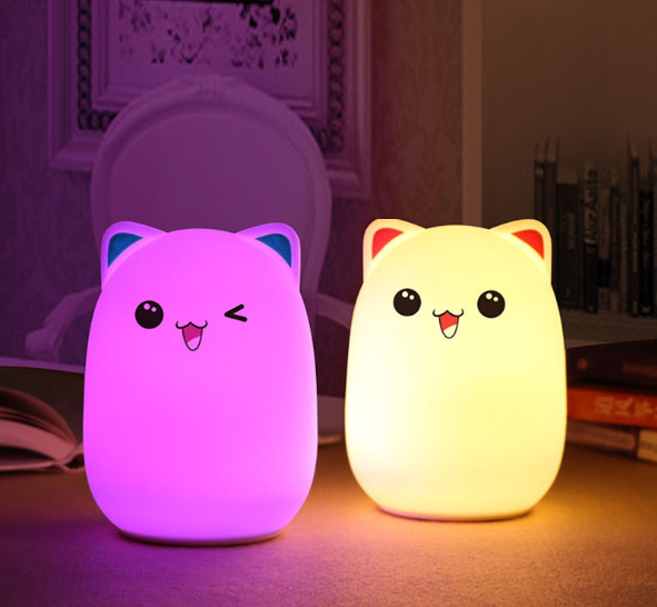 Hot selling 7 Colors Nursery Baby Kid Nightlight USB Rechargeable Sensor Cute Cartoon Animal Cat Silicone LED Night Light
