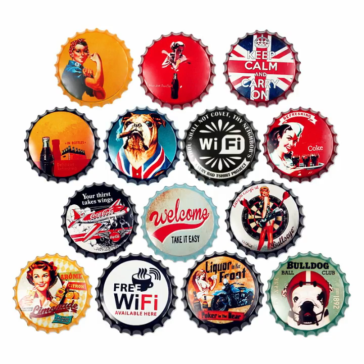 High quality dia 35cm bottlecap tin signs for hotel bar wall decoration retro vintage style metal signs
