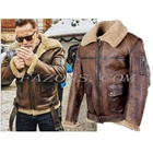 Mens Flight B3 Bomber Shearling Leather Jacket Aviator Real Sheepskin RAF Military Wing Warm filling Biker Style Leather Jacket