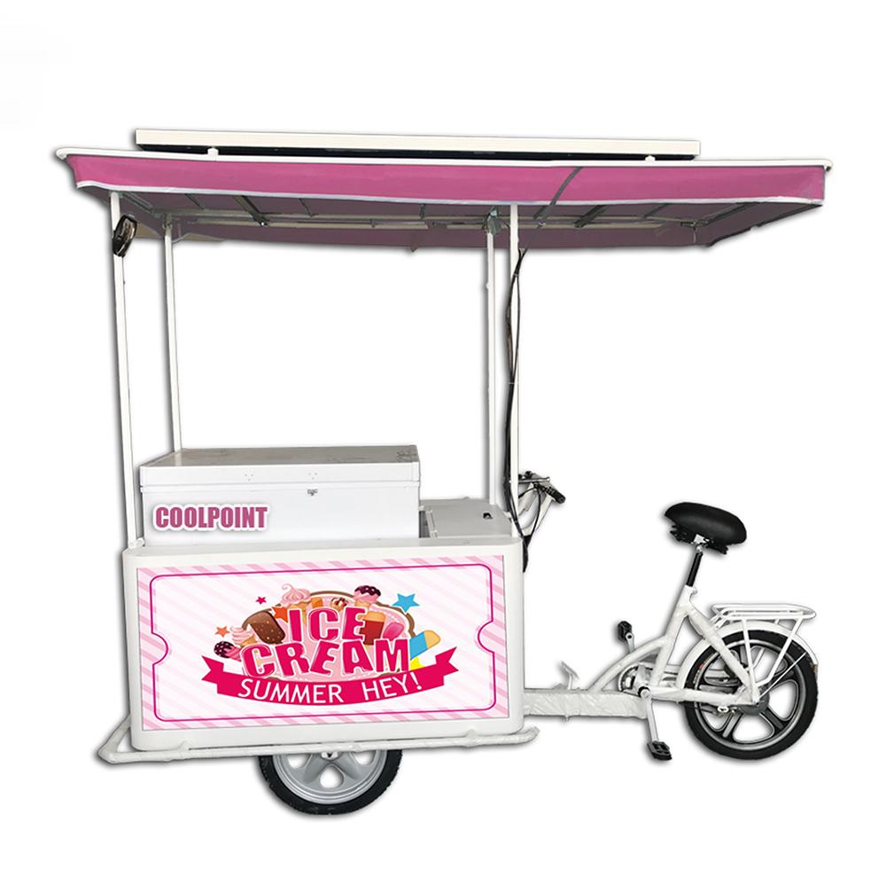 Sıcak satış 208L dondurma üç tekerlekli bisiklet triportör ile göğüs dondurucu