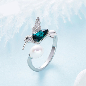 Luxury 925 Sterling Silver Jewelry White Pearl Diamond Blue Austria Crystal Bird Wedding Rings