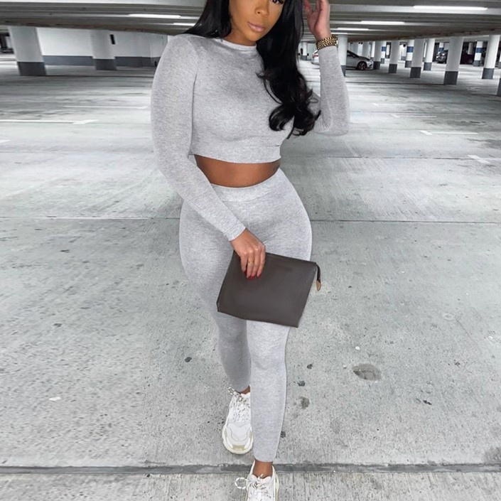 2020 Fashion Tracksuit High Stretch Crop Top Legging Outfits Two Piece Set Fall Clothing For Women